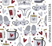 hygge seamless pattern. cute... | Shutterstock .eps vector #1215882136