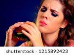 woman bite hamburger fast food. ...   Shutterstock . vector #1215892423