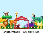 zoo entrance  vector flat style ... | Shutterstock .eps vector #1215896236