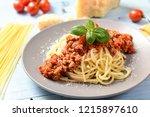 tasty homemade spaghetti... | Shutterstock . vector #1215897610
