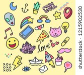 collection set of handdrawn... | Shutterstock .eps vector #1215902530