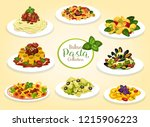 italian pasta dishes with meat  ... | Shutterstock .eps vector #1215906223