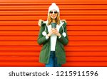 fashion happy smiling woman... | Shutterstock . vector #1215911596