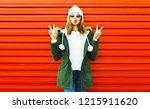 fashion pretty woman blowing... | Shutterstock . vector #1215911620