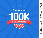thank you 100000 or 100k... | Shutterstock .eps vector #1215913273