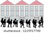children on their way to school.   Shutterstock .eps vector #1215917740