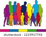 family silhouettes .   Shutterstock .eps vector #1215917743