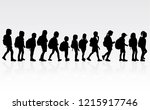silhouette of a child with a... | Shutterstock .eps vector #1215917746