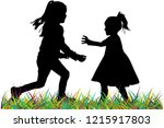 silhouettes of children playing.   Shutterstock .eps vector #1215917803