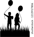 silhouette of children with...   Shutterstock .eps vector #1215917806