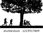 silhouettes of children playing.   Shutterstock .eps vector #1215917809