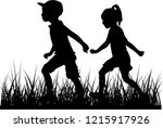 silhouettes of children playing.   Shutterstock .eps vector #1215917926