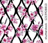 watercolor bouquet of pink...   Shutterstock . vector #1215928813