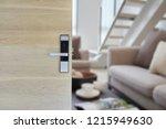 digital door lock installed on... | Shutterstock . vector #1215949630