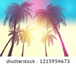 row of tropic palm trees... | Shutterstock .eps vector #1215954673