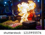 street food in asia at night ... | Shutterstock . vector #1215955576