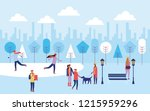 happy winter people vacation | Shutterstock .eps vector #1215959296