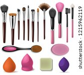 makeup brush vector... | Shutterstock .eps vector #1215962119