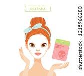 young woman applying sheet face ... | Shutterstock .eps vector #1215966280