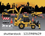 construction vehicles set with... | Shutterstock .eps vector #1215989629