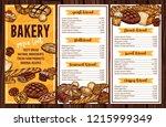 bread baked food  bakery or... | Shutterstock .eps vector #1215999349