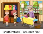 grandmother ironing clothes for ... | Shutterstock .eps vector #1216005700