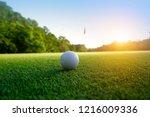 golf ball on green in beautiful ... | Shutterstock . vector #1216009336