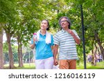 the old couple relax after... | Shutterstock . vector #1216016119