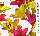 lilies on vintage seamless... | Shutterstock .eps vector #1216029283