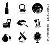 beauty cosmetics icon set | Shutterstock .eps vector #1216030576