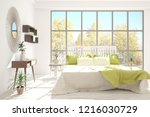 white bedroom with autumn... | Shutterstock . vector #1216030729