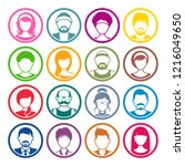 vector avatar circle icons male ... | Shutterstock .eps vector #1216049650