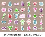 colorful vector christmas icons ... | Shutterstock .eps vector #1216049689
