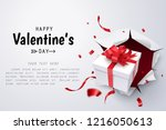 gift box break thru paper wall  ... | Shutterstock .eps vector #1216050613