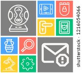 simple set of  10 outline icons ... | Shutterstock .eps vector #1216054066