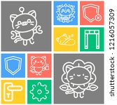 simple set of  10 outline icons ... | Shutterstock .eps vector #1216057309