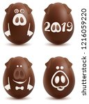 chocolate pig symbol 2019 year. ... | Shutterstock .eps vector #1216059220
