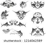 fishing big marlin. deep sea  | Shutterstock . vector #1216062589