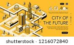 city of the future isometric... | Shutterstock .eps vector #1216072840