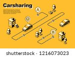 carsharing service isometric... | Shutterstock .eps vector #1216073023