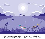 divers in tropical seascape... | Shutterstock .eps vector #1216079560