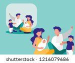 cute family with childrens... | Shutterstock .eps vector #1216079686