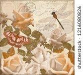 vintage postcard flowers. | Shutterstock .eps vector #1216080826