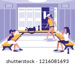 women in place with locker of... | Shutterstock .eps vector #1216081693