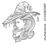 beautiful witch in a hat | Shutterstock .eps vector #1216082089