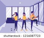 women in the gym | Shutterstock .eps vector #1216087723
