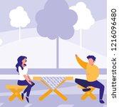 picnic table design | Shutterstock .eps vector #1216096480