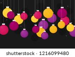 flat christmas balls  vector... | Shutterstock .eps vector #1216099480