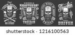 vintage monochrome truck driver ... | Shutterstock .eps vector #1216100563