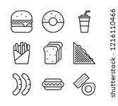 fast food icons set. simple... | Shutterstock .eps vector #1216110466